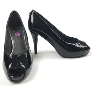 Stuart Weitzman Patent Leather Peep Toe Pumps